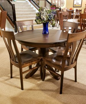 """42"""" Round Classic Pedestal Brown Maple Table"""