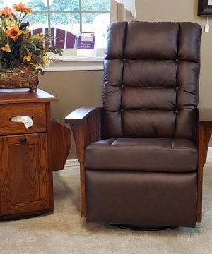 Mission Oak Leather Swivel Recliner