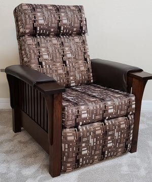 85 Recliner w leather arm covers