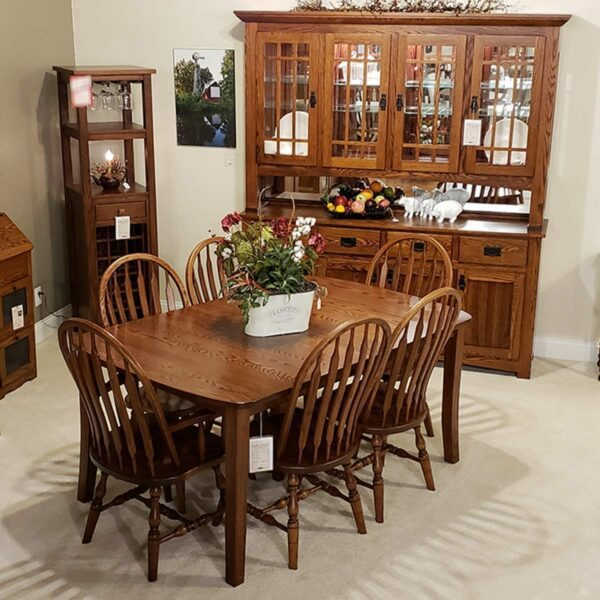 Old World Table Collection w Bent Paddle Chairs oak antique