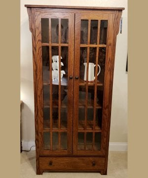 Prairie mission bookcase w doors oak antique