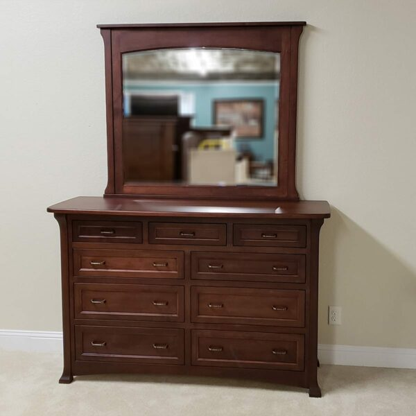 bloomington br maple dresser 14965 and mirror 14966 front