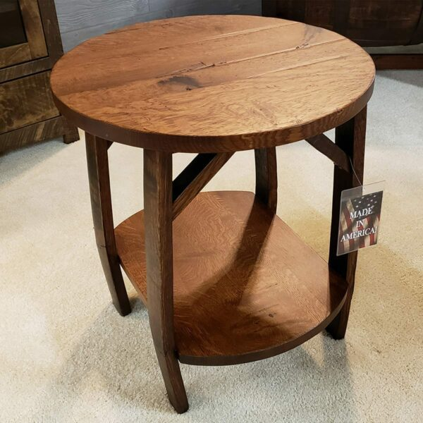 Whiskey Barrel and Oak End Table